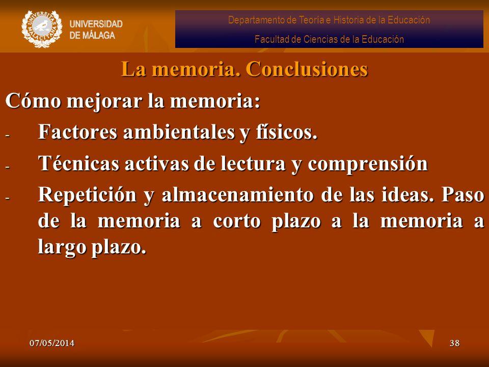 La memoria. Conclusiones