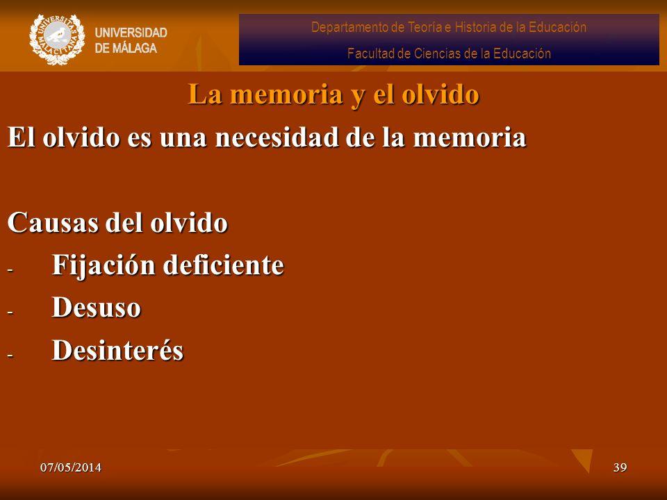 El olvido es una necesidad de la memoria Causas del olvido