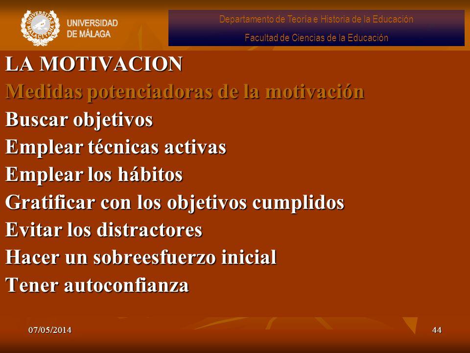 Medidas potenciadoras de la motivación Buscar objetivos