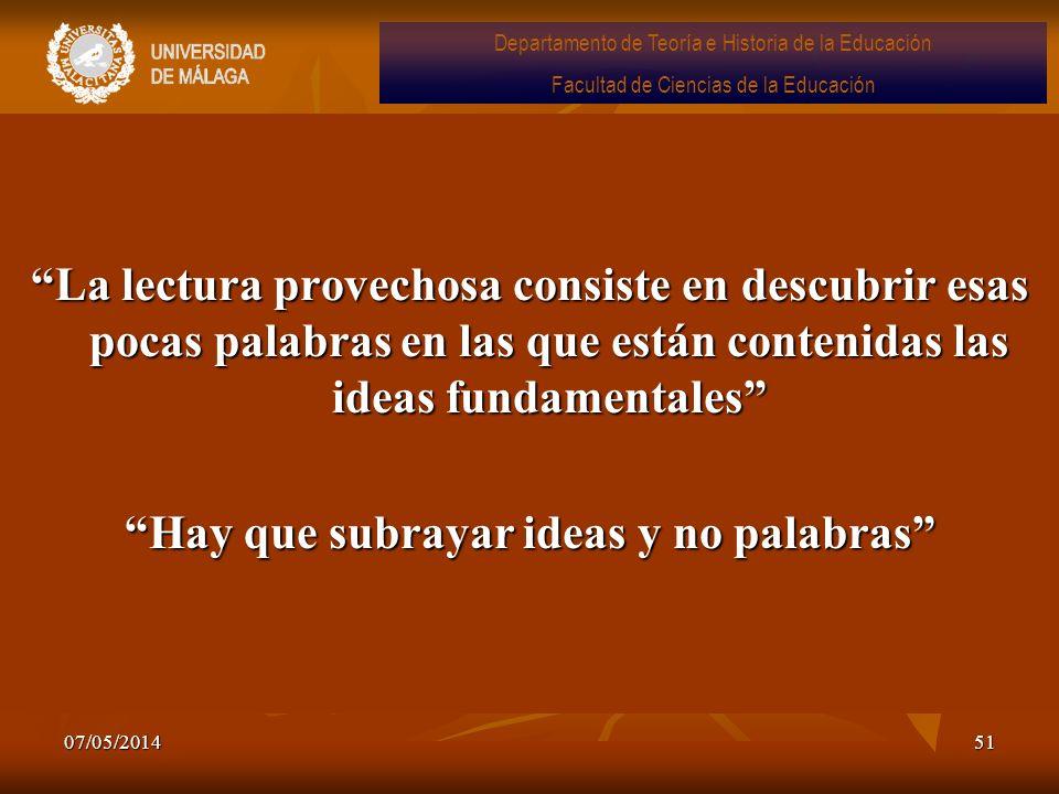 Hay que subrayar ideas y no palabras