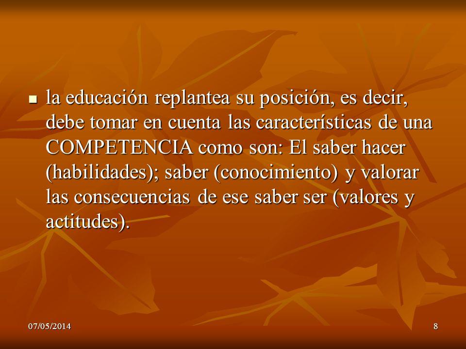 la educación replantea su posición, es decir, debe tomar en cuenta las características de una COMPETENCIA como son: El saber hacer (habilidades); saber (conocimiento) y valorar las consecuencias de ese saber ser (valores y actitudes).
