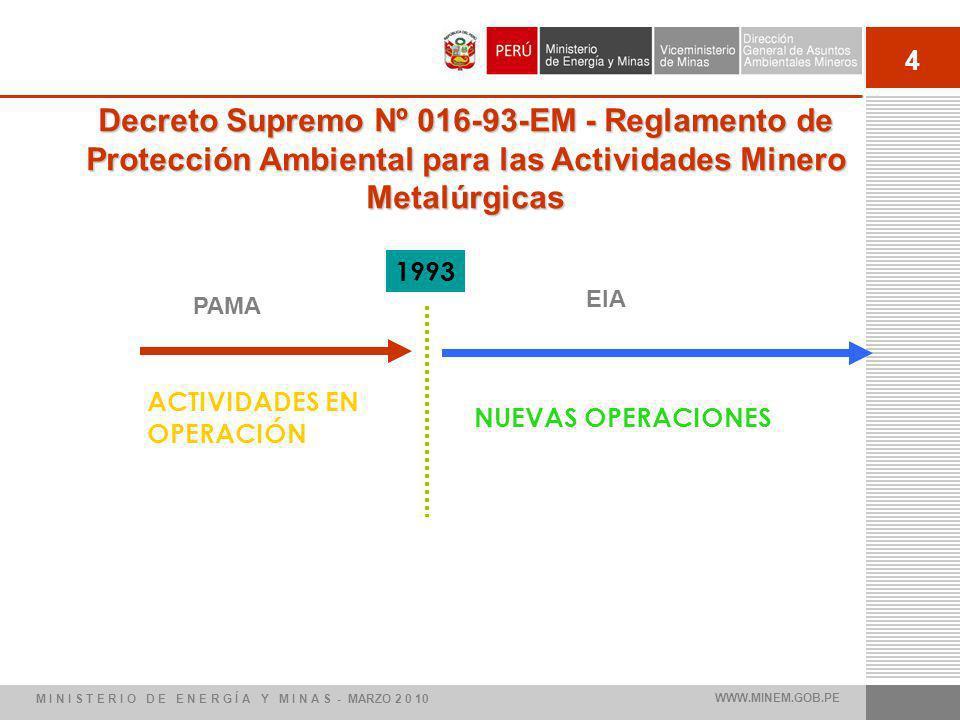 Decreto Supremo Nº 016-93-EM - Reglamento de Protección Ambiental para las Actividades Minero Metalúrgicas