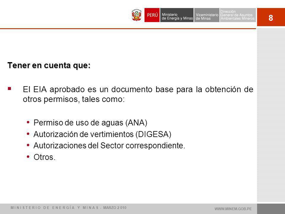 Tener en cuenta que: El EIA aprobado es un documento base para la obtención de otros permisos, tales como: