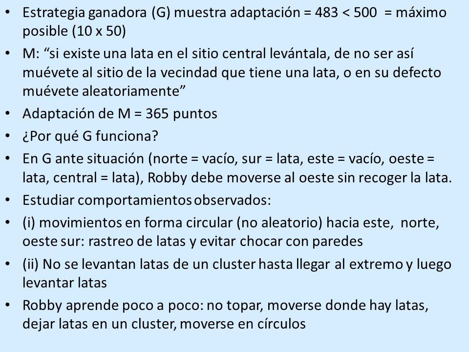 Estrategia ganadora (G) muestra adaptación = 483 < 500 = máximo posible (10 x 50)