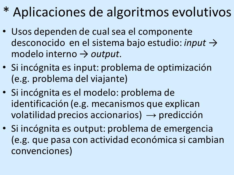 * Aplicaciones de algoritmos evolutivos