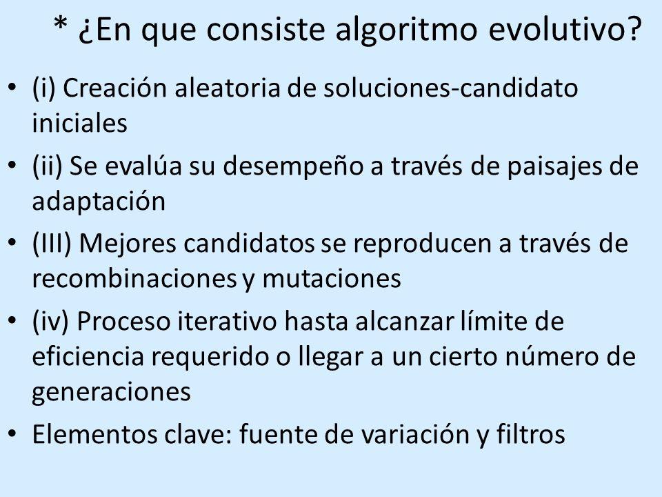 * ¿En que consiste algoritmo evolutivo