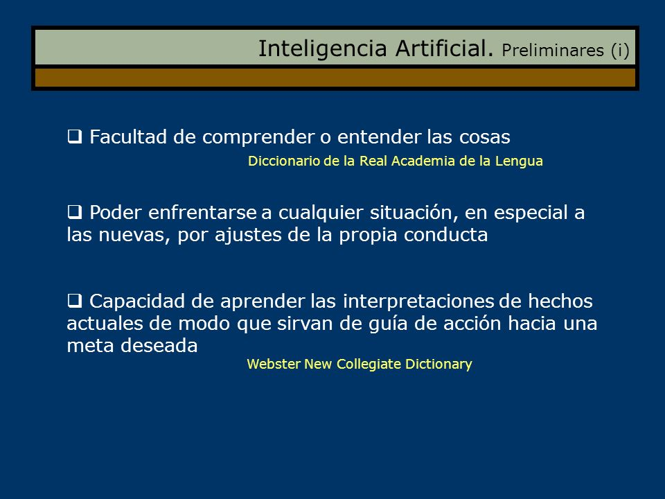 Inteligencia Artificial. Preliminares (i)