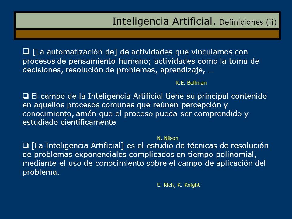 Inteligencia Artificial. Definiciones (ii)