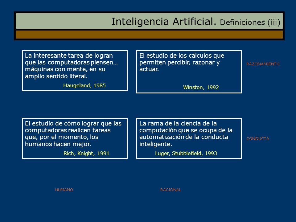 Inteligencia Artificial. Definiciones (iii)