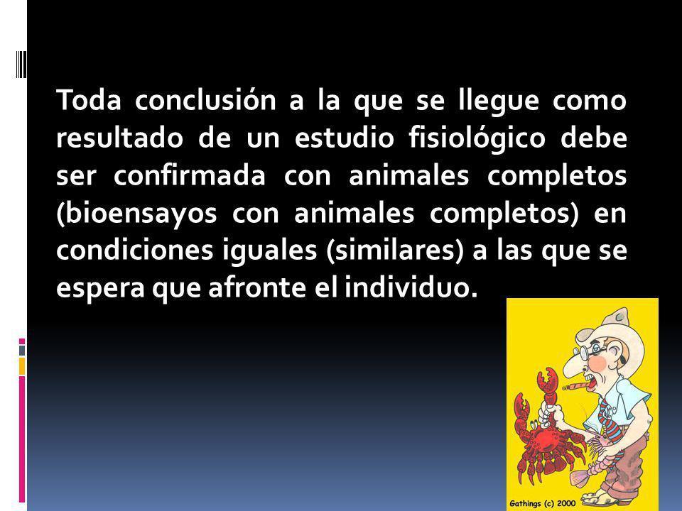 Toda conclusión a la que se llegue como resultado de un estudio fisiológico debe ser confirmada con animales completos (bioensayos con animales completos) en condiciones iguales (similares) a las que se espera que afronte el individuo.