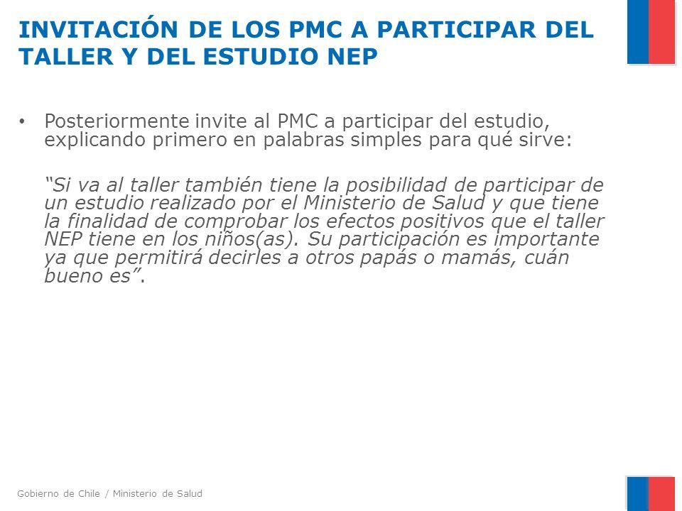 INVITACIÓN DE LOS PMC A PARTICIPAR DEL TALLER Y DEL ESTUDIO NEP