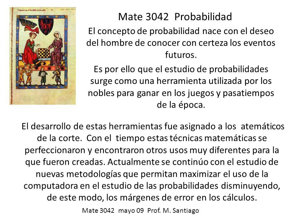 Mate 3042 Probabilidad El concepto de probabilidad nace con el deseo del hombre de conocer con certeza los eventos futuros.