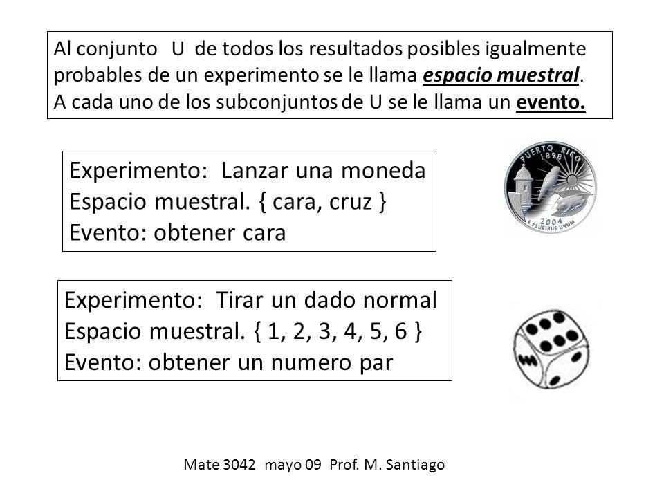 Experimento: Lanzar una moneda Espacio muestral. { cara, cruz }