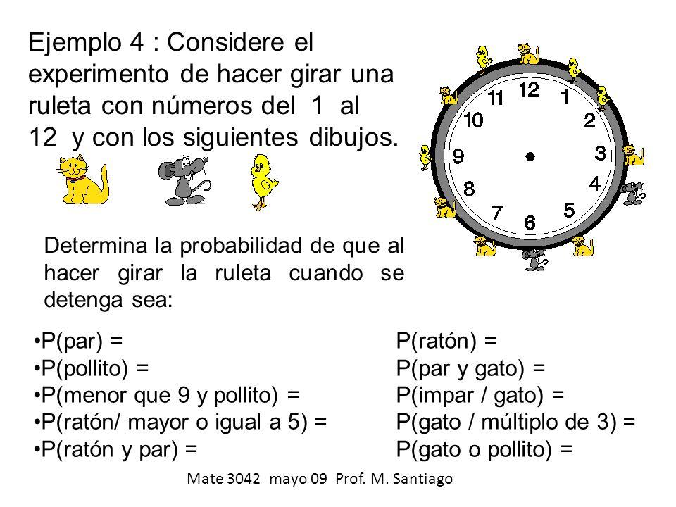 Ejemplo 4 : Considere el experimento de hacer girar una ruleta con números del 1 al 12 y con los siguientes dibujos.