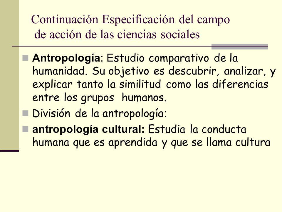 Continuación Especificación del campo de acción de las ciencias sociales