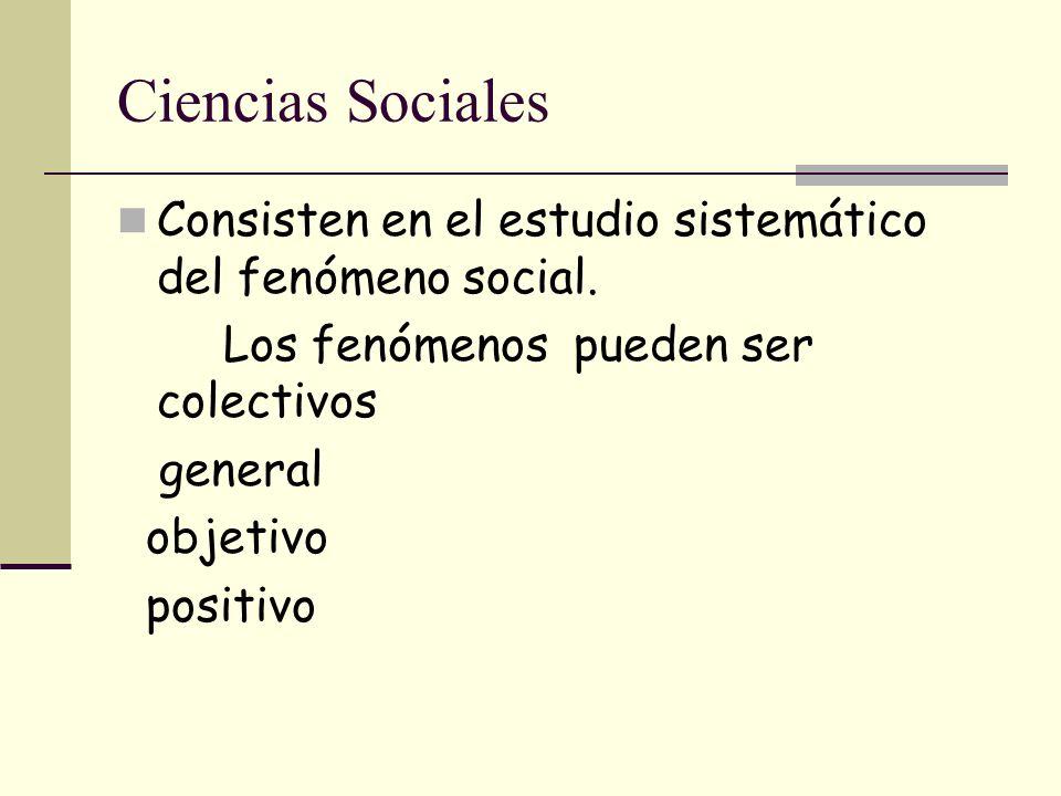 Ciencias Sociales Consisten en el estudio sistemático del fenómeno social. Los fenómenos pueden ser colectivos.