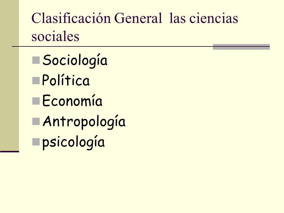 Clasificación General las ciencias sociales