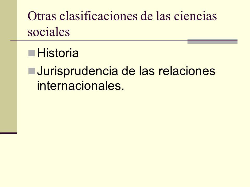 Otras clasificaciones de las ciencias sociales