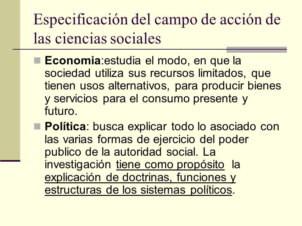 Especificación del campo de acción de las ciencias sociales