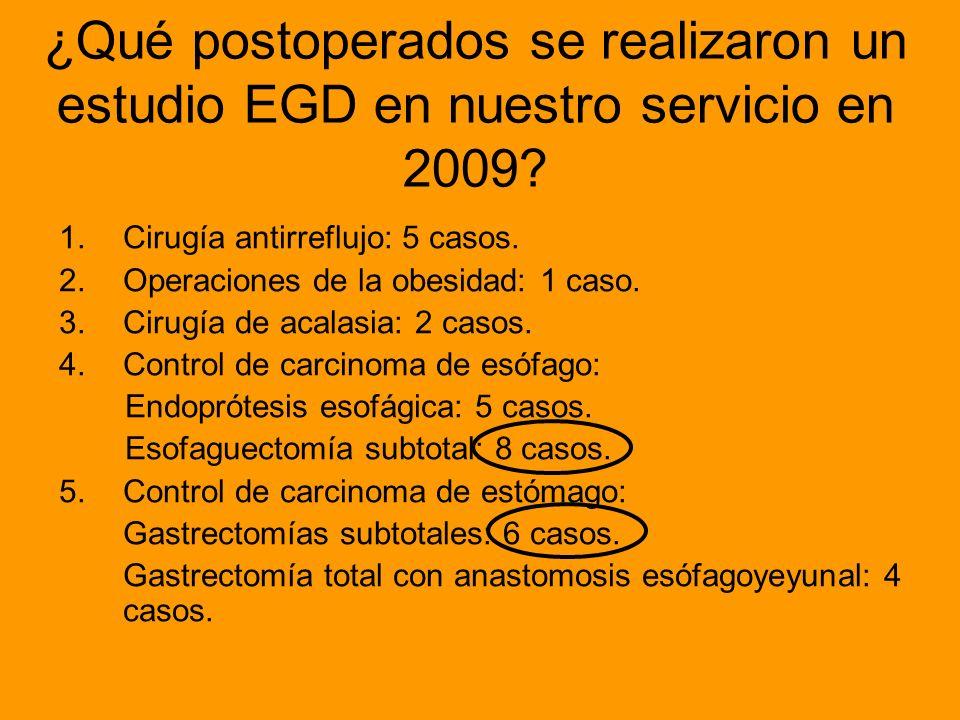 ¿Qué postoperados se realizaron un estudio EGD en nuestro servicio en 2009