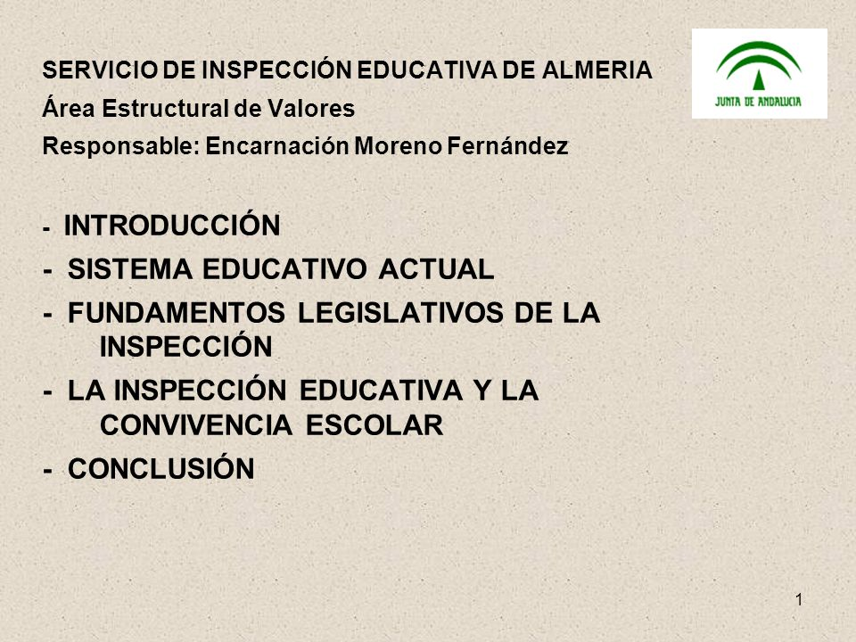 - SISTEMA EDUCATIVO ACTUAL - FUNDAMENTOS LEGISLATIVOS DE LA INSPECCIÓN