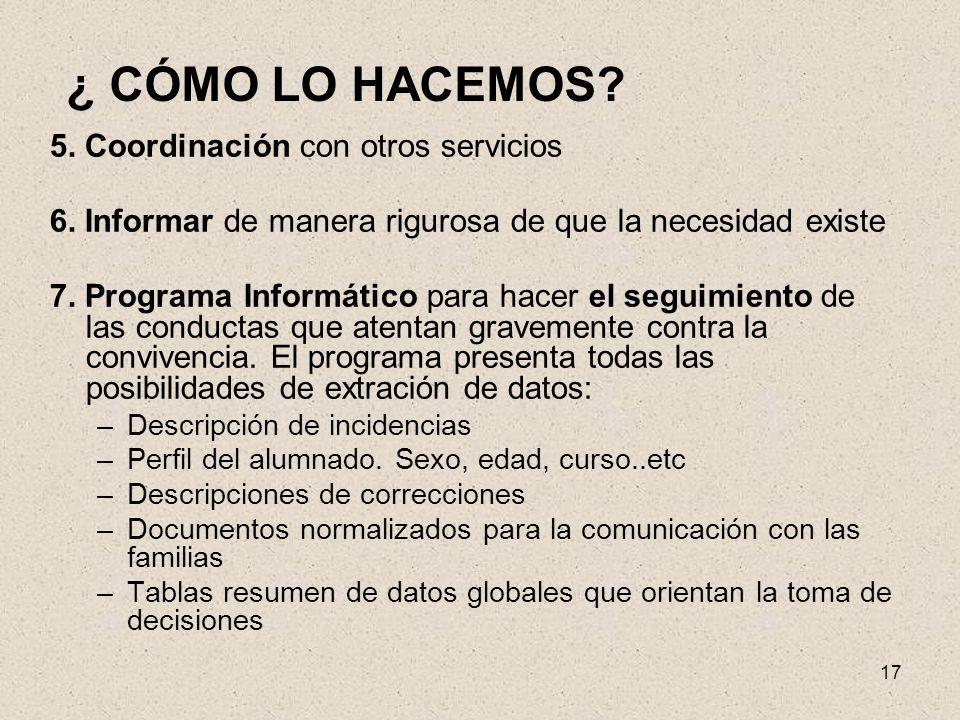 ¿ CÓMO LO HACEMOS 5. Coordinación con otros servicios