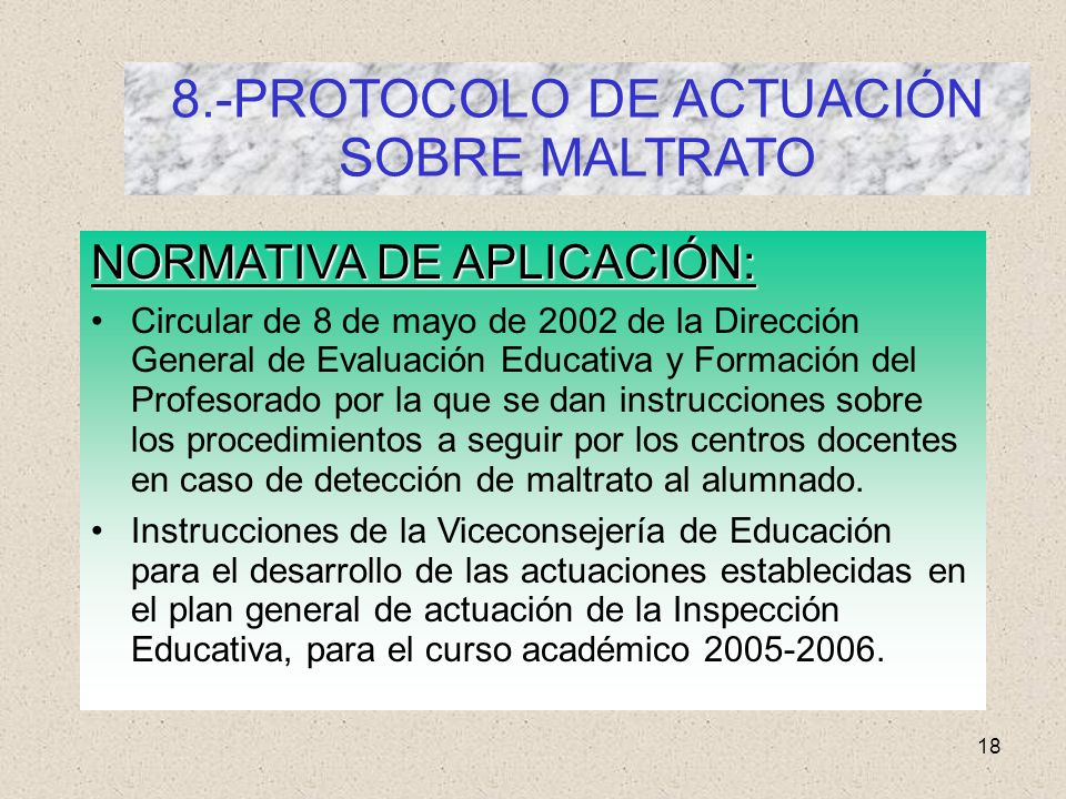 8.-PROTOCOLO DE ACTUACIÓN SOBRE MALTRATO