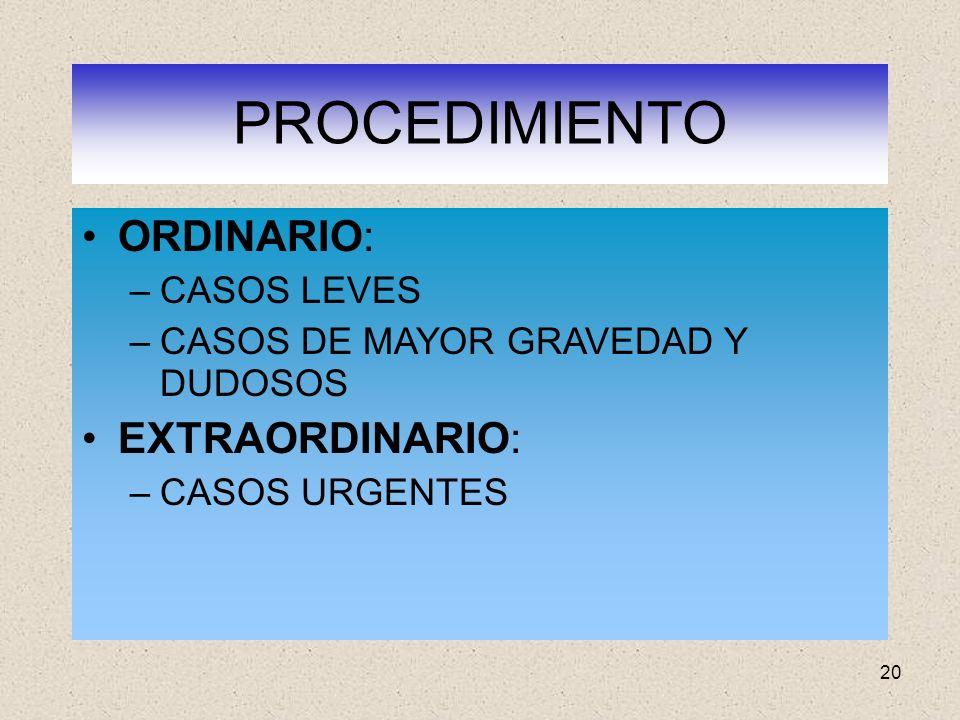 PROCEDIMIENTO ORDINARIO: EXTRAORDINARIO: CASOS LEVES