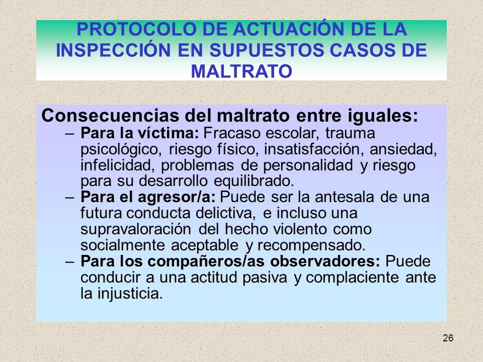 PROTOCOLO DE ACTUACIÓN DE LA INSPECCIÓN EN SUPUESTOS CASOS DE MALTRATO