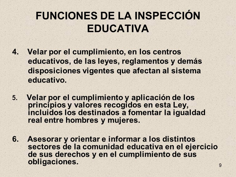 FUNCIONES DE LA INSPECCIÓN EDUCATIVA