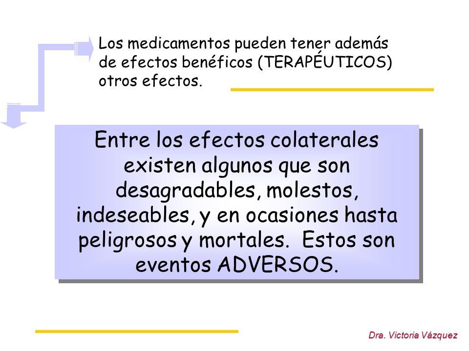 Los medicamentos pueden tener además de efectos benéficos (TERAPÉUTICOS) otros efectos.
