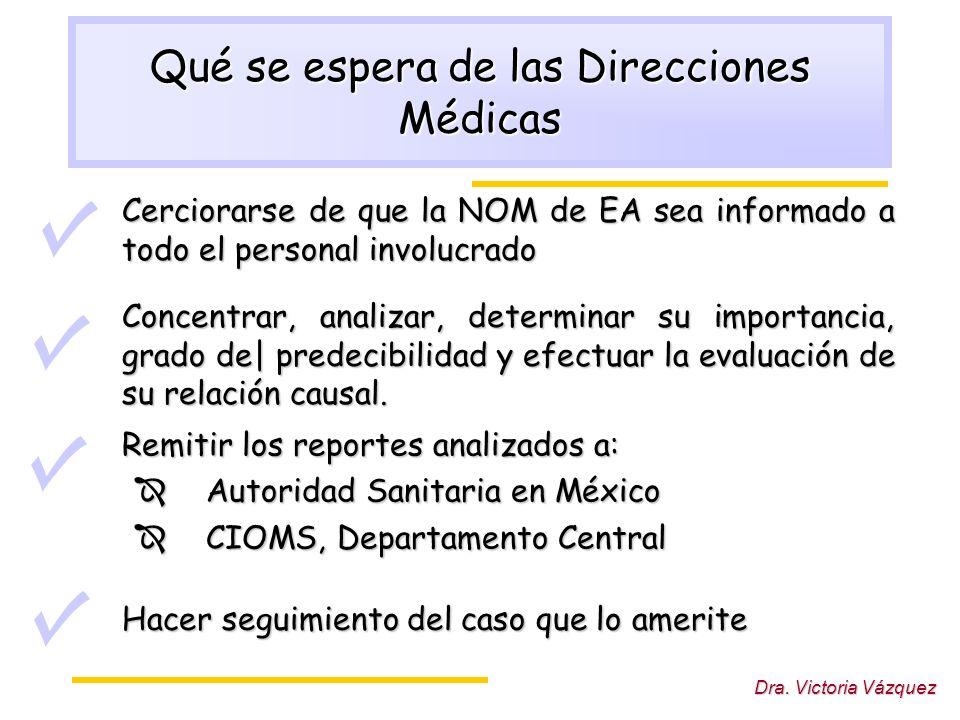 Qué se espera de las Direcciones Médicas