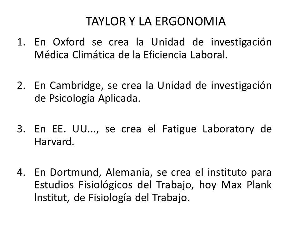 TAYLOR Y LA ERGONOMIA En Oxford se crea la Unidad de investigación Médica Climática de la Eficiencia Laboral.