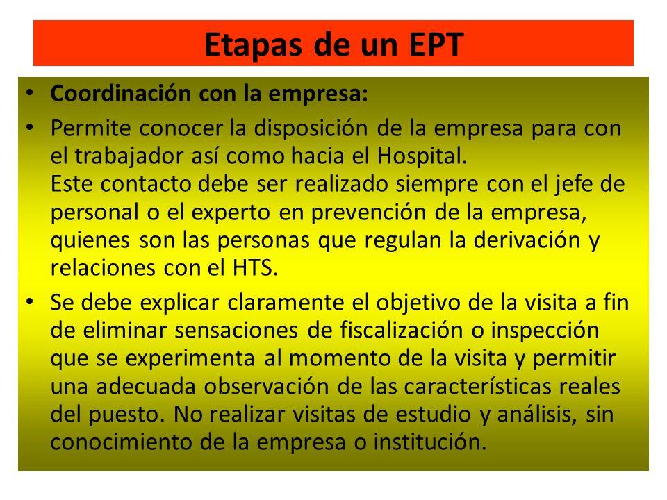 Etapas de un EPT Coordinación con la empresa: