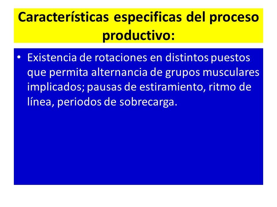 Características especificas del proceso productivo: