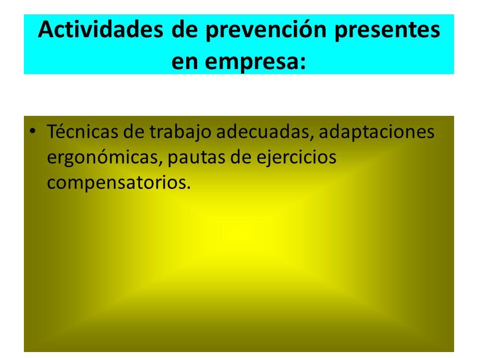Actividades de prevención presentes en empresa: