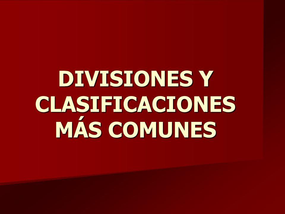 DIVISIONES Y CLASIFICACIONES MÁS COMUNES
