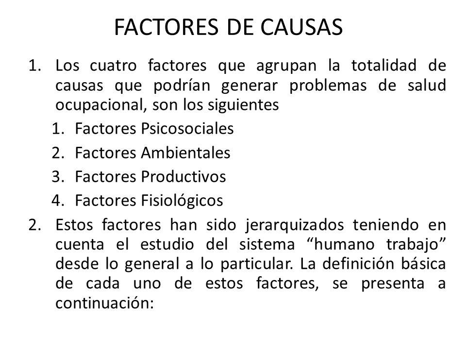 FACTORES DE CAUSAS Los cuatro factores que agrupan la totalidad de causas que podrían generar problemas de salud ocupacional, son los siguientes.