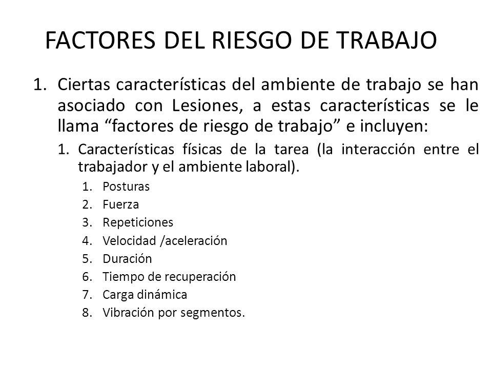 FACTORES DEL RIESGO DE TRABAJO