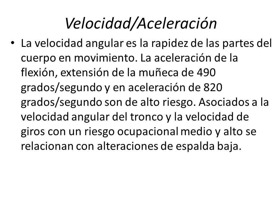 Velocidad/Aceleración