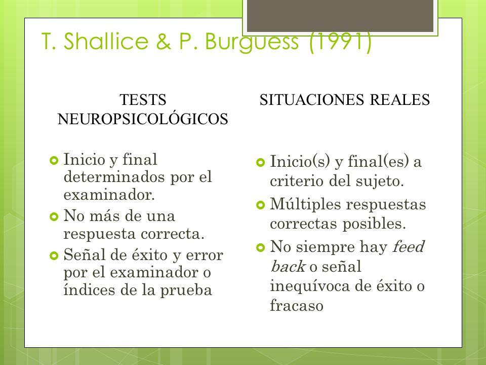 T. Shallice & P. Burguess (1991)