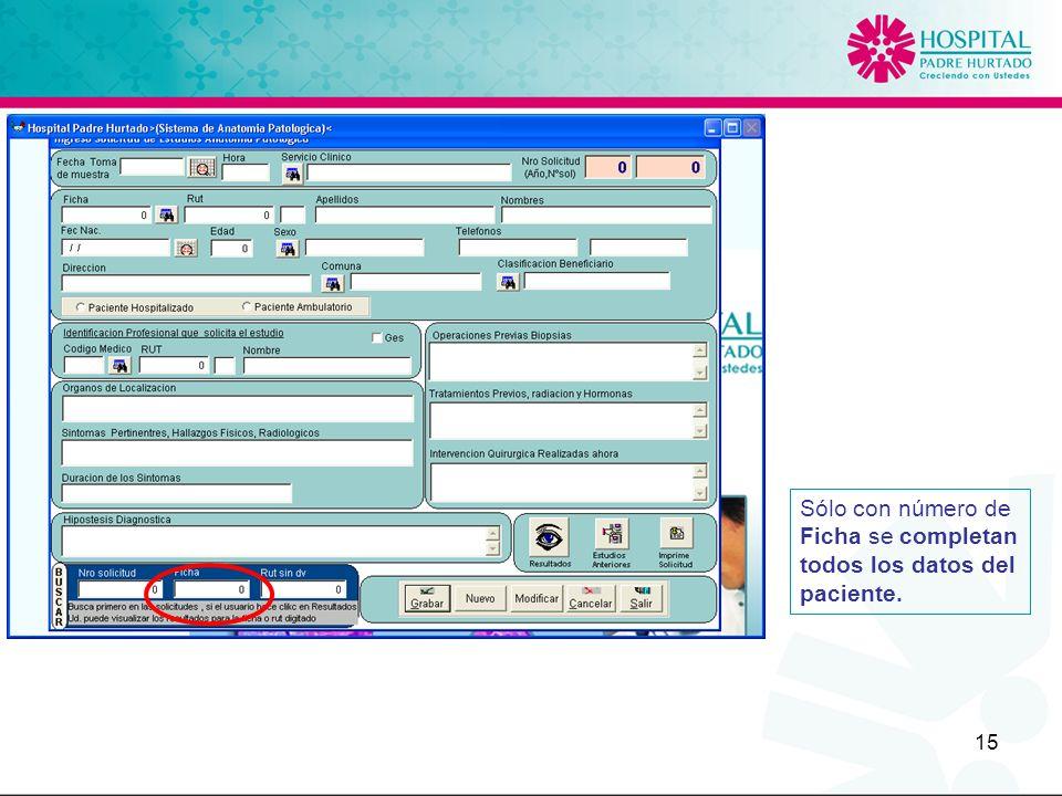Sólo con número de Ficha se completan todos los datos del paciente.