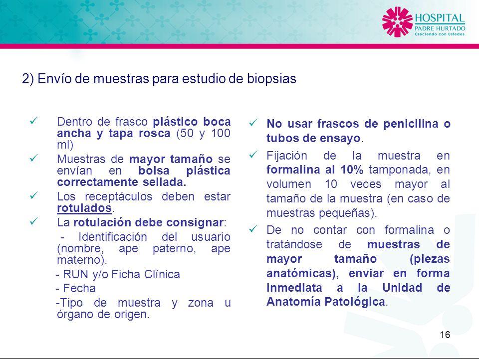 2) Envío de muestras para estudio de biopsias
