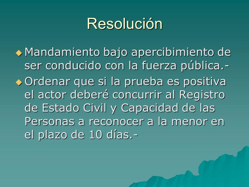 Resolución Mandamiento bajo apercibimiento de ser conducido con la fuerza pública.-
