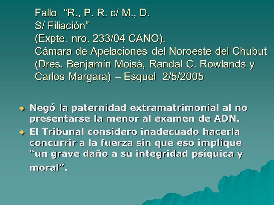 Fallo R. , P. R. c/ M. , D. S/ Filiación (Expte. nro. 233/04 CANO)