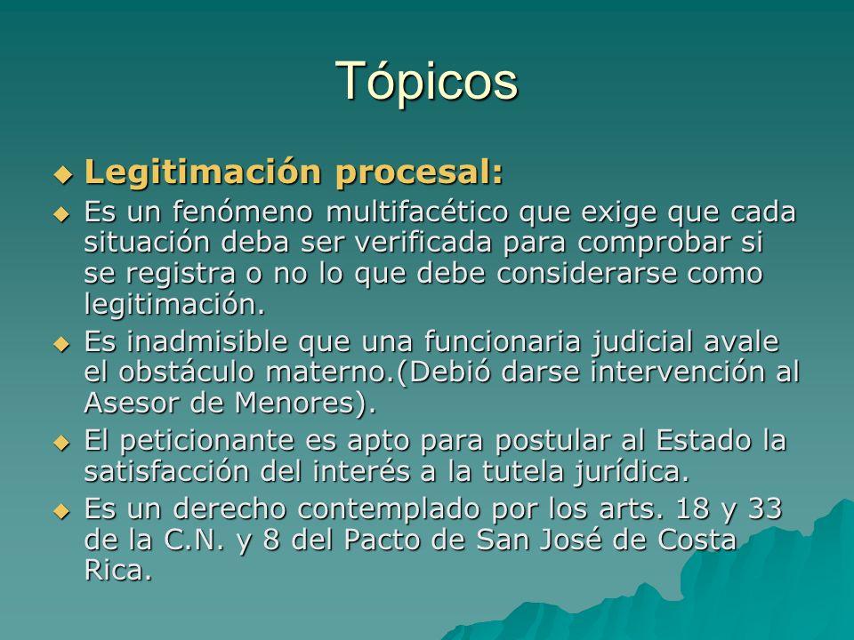 Tópicos Legitimación procesal:
