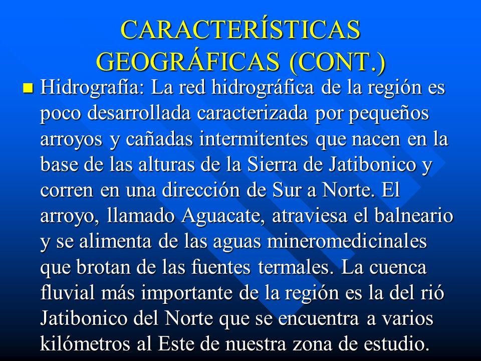 CARACTERÍSTICAS GEOGRÁFICAS (CONT.)