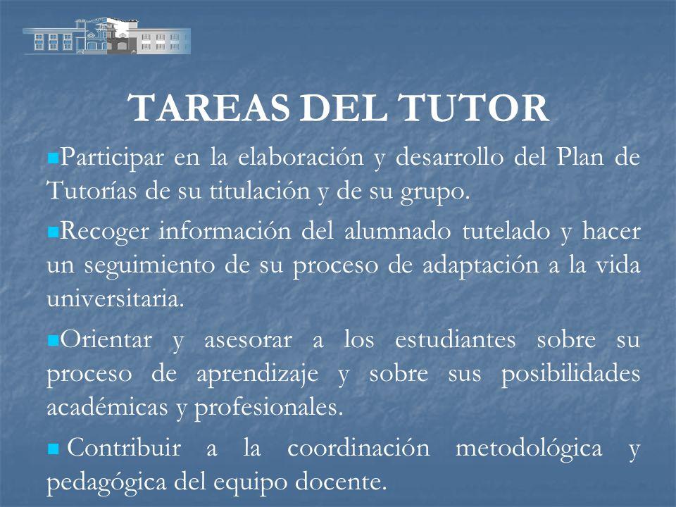 TAREAS DEL TUTOR Participar en la elaboración y desarrollo del Plan de Tutorías de su titulación y de su grupo.