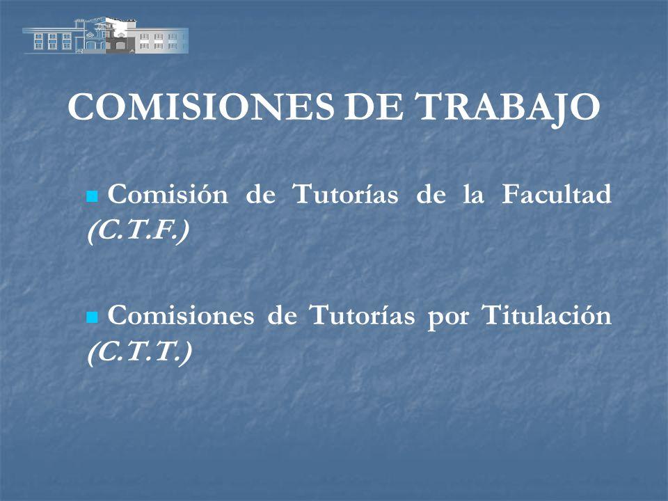 COMISIONES DE TRABAJO Comisión de Tutorías de la Facultad (C.T.F.)