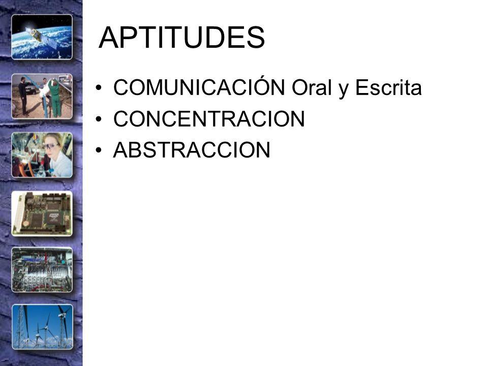 APTITUDES COMUNICACIÓN Oral y Escrita CONCENTRACION ABSTRACCION